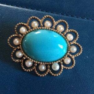 Turquoise & Pearl Brooch